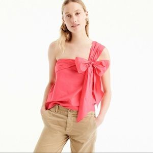 J Crew One Shoulder Bow Top Blouse